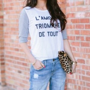 J.Crew Baseball Tee, Small. Love Conquers All.